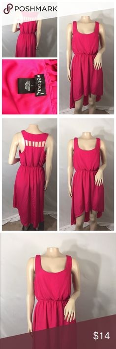 Beautiful hot pink Large Wet Seal high/low dress Beautiful hot pink Large Wet Seal high/low dress. Brand new never worn just to try on  no imperfections 100% polyester very light material Wet Seal Dresses High Low