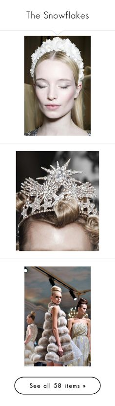 """""""The Snowflakes"""" by alqualonde ❤ liked on Polyvore featuring photos, pictures, backgrounds, models, tiara, crowns, jewelry, accessories, head and dresses"""