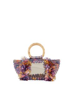 CAROLINA SANTO DOMINGO CORALLINA PVC RAFFIA TOP HANDLE BAG. #carolinasantodomingo #bags #hand bags #pvc #