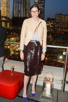 Jenna Lyons knows a thing or two about keeping a sequined skirt from looking too glitzy. (The secret: a nude moto jacket. How chic!)