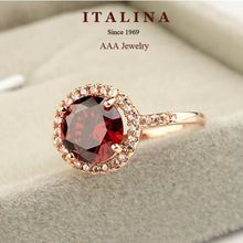 Italina Champagne Gold Plated Fashion Delicate Red Austrian Crystal Ring Jewelry for Women(China (Mainland))