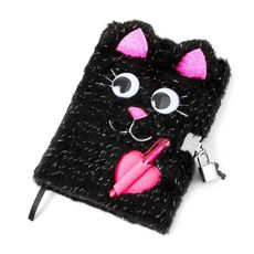 Black Cat Fluffy Lock Diary