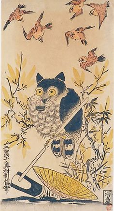 "Okumura Toshinobu ""Sparrows Worrying an Owl Perched"" Woodcut, hand-coloured with gloss."