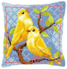 Buy Canaries Cushion Front Chunky Cross Stitch Kit Online at www.sewandso.co.uk