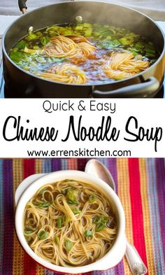 This recipe for Quick & Easy Chinese Noodle Soup makes a super simple, aromatic . This recipe for Quick & Easy Chinese Noodle Soup makes a super simple, aromatic broth that's packed with noodles and Asian flavor. Best Soup Recipes, Vegetarian Recipes, Dinner Recipes, Cooking Recipes, Healthy Recipes, Vegan Vegetarian, Chinese Soup Recipes, Quick Recipes, Chinese Broth Recipe