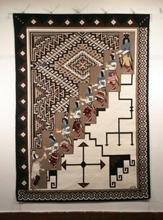 """The title of this piece is """"Crossroads"""". The Yei be chai figures connect the past represented by the older Crystal design with the new represented by the intricate Two Grey Hills design by Sarah Paul Begay. Dimensions: x Native American Rugs, Native American Baskets, Native American Patterns, American Indian Art, Navajo Art, Navajo Rugs, Navajo Weaving, Hand Weaving, Tapestry Weaving"""