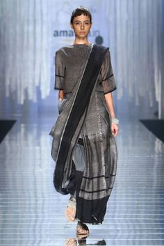 Dark grey handwoven sari with black stripes
