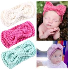 Baby Girl Headbands With Bows Perfect for Newborns/Toddlers Cute Knotted Bow Headwrap *** More info could be found at the image url. Baby Girl Crochet, Crochet Baby Hats, Baby Knitting, Crochet Quilt, Crochet Stitches, Knit Crochet, Knit Headband Pattern, Knitted Headband, Newborn Crochet Patterns