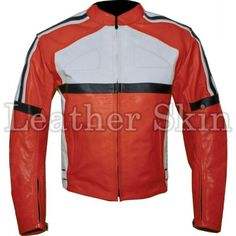 Orange Biker Racing Leather Jacket Skin Men - Apparel Outerwear Jackets