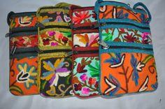 Bolso de algodón con bordados en motivos florales de IndiaSI por DaWanda.com