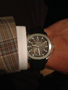 """hodinkee: """"No other rubber-clad """"dive"""" watch complements a suit as well as a Patek Philippe Aquanaut. Ref -JM """" Fine Watches, Watches For Men, Men's Watches, Patek Philippe Aquanaut, John Mayer, Omega Watch, Bling, Accessories, Suit"""