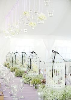 Bird Cage Centerpieces. #Floral #Flowers #Babys Breath #Decor #Reception. @Celebrity Style Weddings