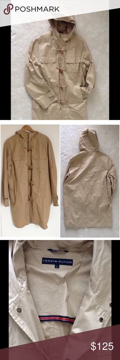 """🔶 Tommy Hilfiger Vintage Trench Coat, Size L 🔶 ✔️ Tommy Hilfiger Vintage Trench Coat ✔️ Color: Tan/Khaki ✔️ Size: Large ✔️ Snap buttons, toggle ✔️ Hooded ✔️ 100% Cotton ✔️ Garment is made with a durable fit and constrution for comfort and durability ✔️ Excellent used condition except for some small spots (see last pic)  Measurements (approx. and laid flat): 📍 Length (shoulder to hem): 40"""" 📍 Chest (armpit to armpit: 27"""" 📍 Sleeve length (armpit to cuff): 19.5""""  If you have any other…"""