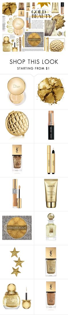 """""""Gold rush"""" by soivana ❤ liked on Polyvore featuring beauty, Christian Dior, Pat McGrath, Estée Lauder, Bobbi Brown Cosmetics, Yves Saint Laurent, Skin79, Kilian, AERIN and gold"""