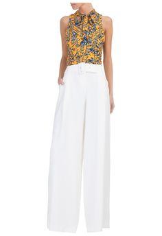A.BRAND - Calça pantalona maxifivela - off white - OQVestir