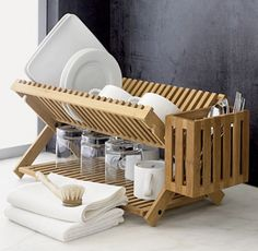 basic folding bamboo dish rack from Crate and Barrel & Steal This Look: A Classic English Kitchen for an Oscar-Winning ...