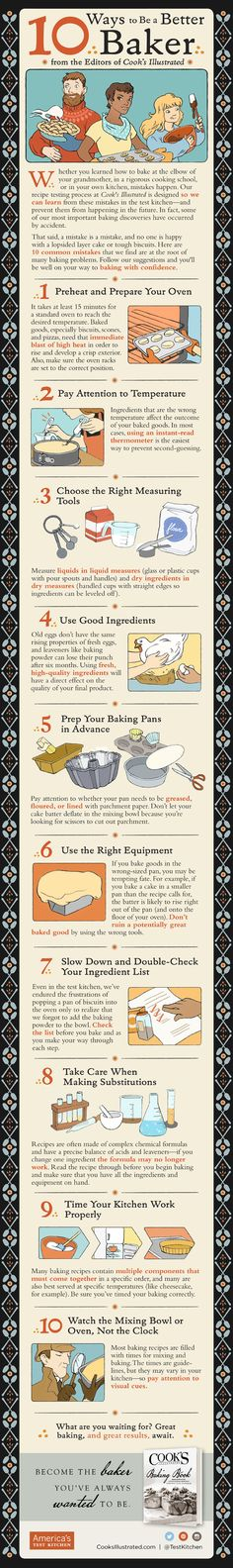 10 WAYS TO BE A BETTER BAKER [INFOGRAPHIC]: These practical kitchen tips will transform your baking routine. #Infographic #Baking