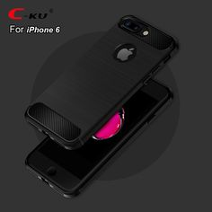 The Case for iPhone 6 6S Plus Soft Silicone Black Ultra Thin Carbon Fibre Covers for iPhone 6S 6 Plus Wire Drawing Apple Cases
