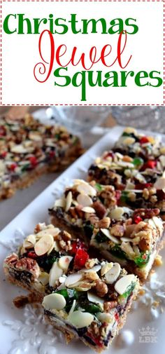 Christmas Jewel Squares - Lord Byron's Kitchen Christmas Jewel Squares - Lord B. New Year's Desserts, Cute Desserts, Christmas Desserts, Christmas Treats, Christmas Fruitcake, Christmas Goodies, Holiday Foods, Plated Desserts, Christmas Recipes