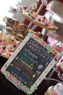 Candy buffet menu