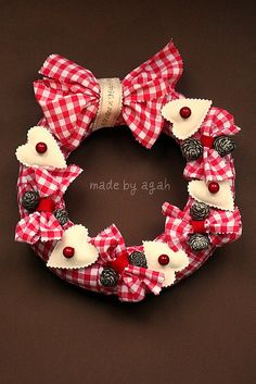Gingham Christmas Wreath by made by agah, via Flickr