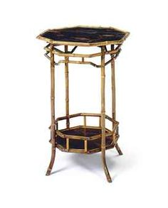 A LATE VICTORIAN BAMBOO AND BLACK LACQUERED OCTAGONAL SIDE TABLE,