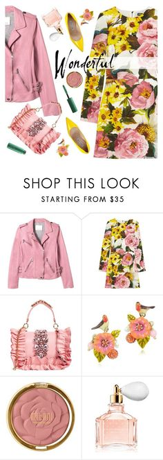"""""""Wonderful"""" by ladysnape ❤ liked on Polyvore featuring Rebecca Taylor, Dolce&Gabbana, GEDEBE, Les Néréides, Milani, Guerlain and MAC Cosmetics"""