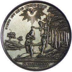 Franz Joseph I. 1848 - 1916 Taufmedaille 1899 Silber Av.: Taufe Christi am Jordan. Rv.: Genius mit barockem Schild. Mit Widmung für A. Sch. 9./4. 1899