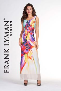 Frank Lyman 2017. Bright colorful maxi dress with sheer hem. Proudly Made in Canada