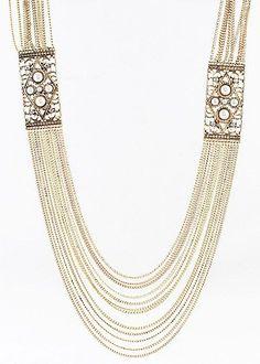 Posh Girl Gold Tone multi layered necklace