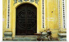 Bicycle in front of a door, Hanoi, Vietnam, South-East Asia