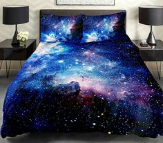 Blue galaxy bedding set green galaxy duvet cover galaxy sheet with two matching galaxy pillow covers by Tbedding on Etsy Bedroom Themes, Bedroom Decor, Bedroom Boys, Bedroom Night, Master Bedroom, Bedroom Green, Cozy Bedroom, Master Suite, Draps Design