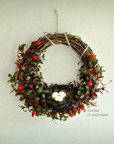 All Year Wreath летний осенний весенний венок на дверь с птичьем гнездом доступен для заказа в нашей мастерской