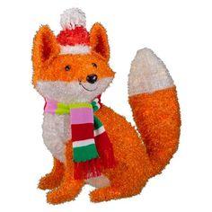 22 tinsel glitter lit fox in santa hat wondershop target - Target Outdoor Christmas Decorations