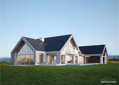 Projekt domu LK&1140 Home Building Design, Building A House, House Designs Ireland, Mountain Home Exterior, Minimal House Design, Self Build Houses, Modern Barn House, Ideas Hogar, New House Plans