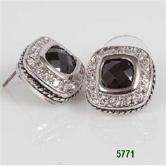Jet Silver Bezel with Clear CZ Pave Post Earrings
