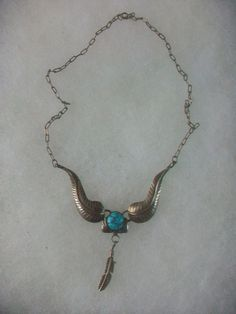 Vintage Sterling Silver Turquoise Feather Necklace Navajo