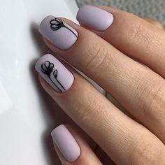 Matte violet nail polish with simple nail art