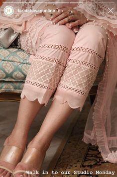 Best 11 Pastel shade with white trouser – SkillOfKing.Pants and Plazo use embroidery Salwar Designs, Kurti Neck Designs, Dress Neck Designs, Blouse Designs, Pakistani Fashion Casual, Pakistani Dresses Casual, Pakistani Dress Design, Pakistani Suits, Kurti Sleeves Design
