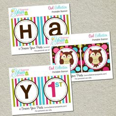 Printable Owl Birthday Banner
