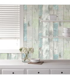 Create your own rustic oasis with peel and stick wallpaper! Give your favorite room a face lift without damaging or ruining walls. | Online Only Product
