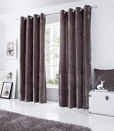 Velvet Eyelet Room Darkening Curtains Home Essence Size: Width x Drop Colour: Silver Living Room Chairs, Home Essence, Curtain Decor, Curtains, Red Curtains, Drapes Curtains, Home, Lined Curtains, Velvet Curtains