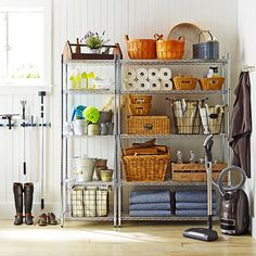 7 Ways To Organize Using Wire Shelving // organizing the garage using metro shelves