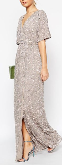 sequined kimono sleeve maxi dress