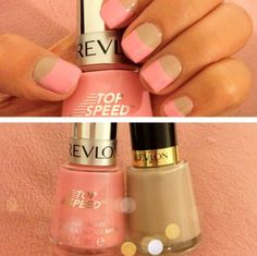Two tone nails, peach & nude