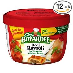 Chef Boyardee Beef Ravioli, 7.5-Ounce Microwavable Bowls (Pack of 12) --- http://www.amazon.com/Chef-Boyardee-Ravioli-7-5-Ounce-Microwavable/dp/B000MICPSA/?tag=pinterest1061-20
