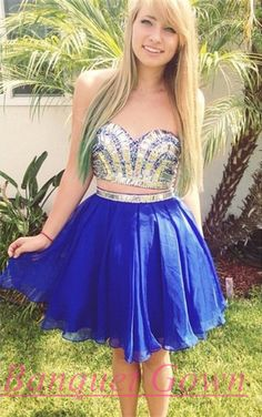 Modern Two Piece Crystals Short Homecoming Dress 2016 Sweetheart prom Gowns