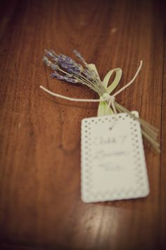 Another shot of the dried lavender bouquets used as place cards/escort cards for my wedding.  Photo credit:  Lauren Mullins Via