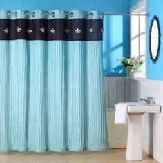 Lavish Home Meridian Grommet Style Ruffle Fleur-de-lis Shower Curtain - 67-0004, ASR7631-1