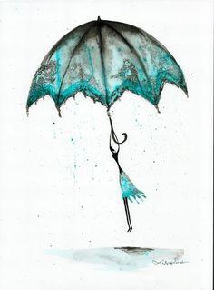 Krystyna Siwek - rain - abstract gallery Rain Street, Street Art, Umbrellas, Rainy Days, Abstract, Gallery, Drawings, Illustration, Pictures